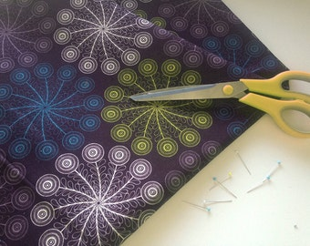100% Cotton Fabric - 'Peacock' Design by Mel Smith Designs / Feather Pattern / Cotton Length / Purple Fabric / Dark Fabric