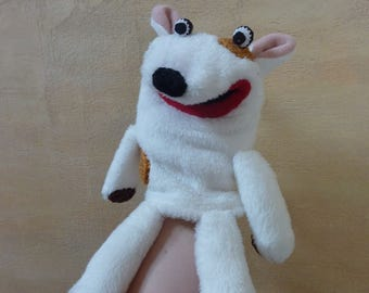 Bull terrier -  simple plush moving mouth hand puppet