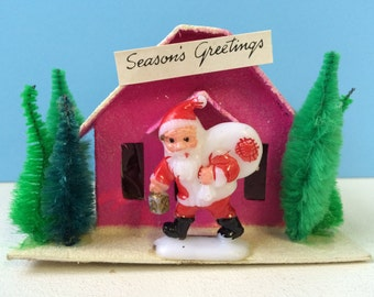 Vintage Inspired Christmas Putz House, PInk with Trees and Santa
