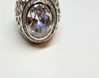 "Gorgeous VINTAGE Silver Tone Statemnt  Ring with Huge 1"" Oval Cubic Zirconia Halo with Crown of 2mm Cz Size 9 and 1 1/2"" front design"
