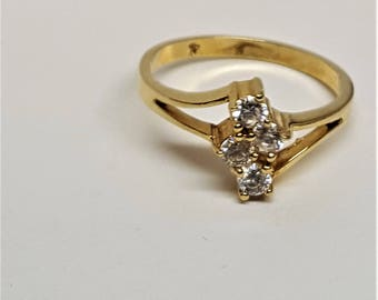 Vintage 1970's Cluster Ring Cocktail Sparkle Yellow Gold 18K HGE over Sterling with Stunning SPARKS size 7 Excellent Condition