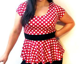 Minnie Mouse Peplum Top // Minnie Mouse Disney Bounding Pin Up Girl Shirt