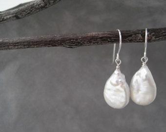 White Earrings - Pearl Earrings - Silver Dangle Earrings - Teardrop - Versatile - Light,  Bright and White - June Birthday -  Birthstone
