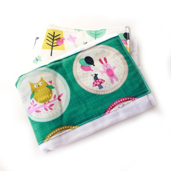 Woodland Animal Burp Cloths, Blue Pink Green Teal Coral- set of 2 Animal Girl / Baby Shower Gift