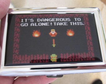 Zelda 8bit Its Dangerous To Go Alone Cigarette or Card Case or Wallet