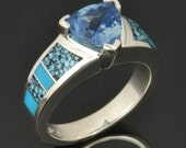 Turquoise Engagement Ring with London Blue Topaz in Sterling Silver