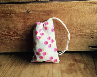Mini Drawstring Pouch - Reusable Gift Bag - Jewelry Pouch - Gift Card Bag - Pink Polka Dots