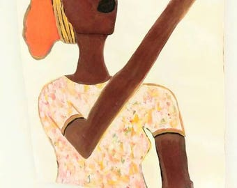 African woman art ,Afrikaans bag,african American art,black woman painting,  black woman painting,black woman art,fruit