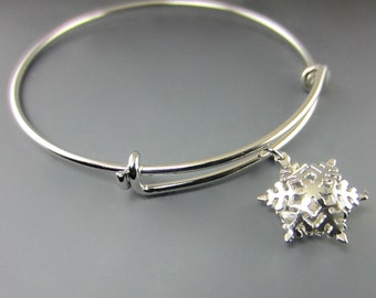 One Charm Snowflake Expandable Bangle Bracelet/ Select Charm