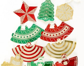 HOLIDAY CLOSEOUT 50% OFF Vintage Foil Christmas Ornaments Table Decorations Children's Party Favors Paper Dolls