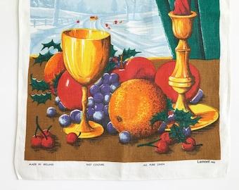Vintage CHRISTMAS Tea Towel Season's Greetings Fruits Winter Scene Gold Goblet Candlestick Lamont Linen
