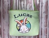 Personalized Easter Basket - Easter Bunny - Basket for Girls - Basket for Boys - Easter Bucket - Chevon - Polka Dot - Bunny Easter Basket