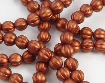 Melon Beads 8mm Czech Glass Matte Rusty Brown Bronze - 30