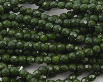 Hunter Green Honeycomb 4mm Fire Polish Czech Glass Beads - 50