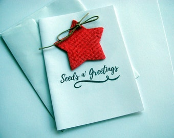 Plantable Seed Paper Christmas Card Set - Seed Paper Star Holiday Cards - Wildflowers