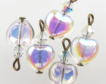 Vintage Glass Bead Drops Clear AB Heart Charms Aurora Borealis Swarovski Antiqued Brass 15mm uvf0633 (5)