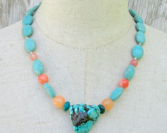 Chunky  BlueTurquoise Nuggget Coral Orange Mixed Bead Necklace