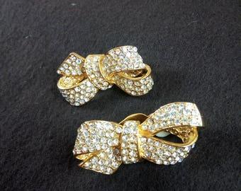 1980s Bow design Clip earrings