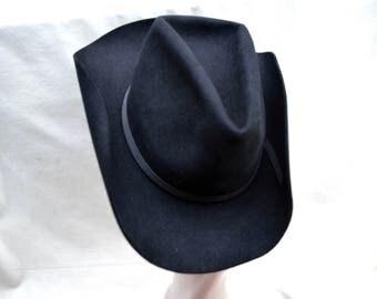 Vintage Black Felt Cowboy Hat / Vintage Ralph Lauren Polo Western Cowboy Hat / Vintage Cowboy Hat / Vintage Western Hat / Ralph Lauren Hat