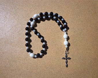 Anglican Episcopal Rosary, Black and White Glass Beads with Silver Tone Cross, Protestant Rosary, Christian Gifts, Protestant Prayer Beads