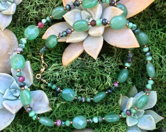 Ruby Zoisite and Aventurine Beaded Necklace