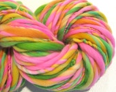 RESERVED for Yoko Bulky Handspun Yarn Zinnias 200 yards hand dyed wool pink yarn green yellow orange yarn knitting supplies crochet supplies