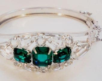 Vintage Clear, Green Rhinestone Hinged Bangle with Safety Chain