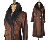 60s Penny Lane suede coat / 1960s long suede faux fur lined collar coat / long brown coat