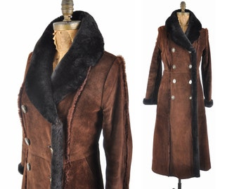 60s Penny Lane suede coat / 1960s long suede faux fur lined collar coat / long brown coat