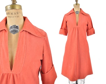 70s persimmon dress / corduroy collar dress / 1970s aline dress .. 36 bust