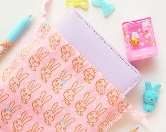 Planner Cover Planner Bag Gold Bunnies Drawstring Pouch Planner Accessories Pink Planner Case Personal Planners Journal Travelers Notebook