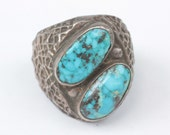 Sterling and Turquoise Stone Ring Artisan Native American Style Size 12 As Is