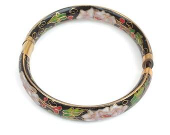 Asian Floral Cloisonne Bangle Bracelet Hinged Vintage