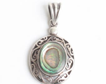 Abalone Shell Sterling Pendant Filigree Setting Oval Vintage
