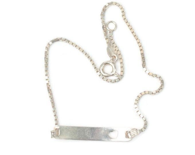 Sterling Ankle Bracelet Heart Cut Out ID Style Vintage