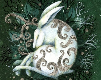 SALE!!  Limited edition giclee art print by Amanda Clark. Hare paintings, miniature painting, art for Xmas