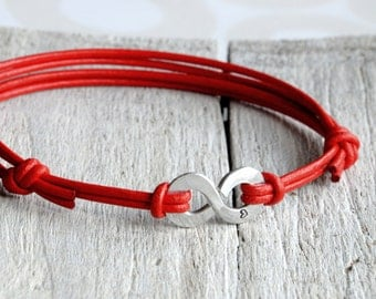 Infinity Bracelet, Red Leather and Aluminium, personalised leather anniversary gift for him and Unisex