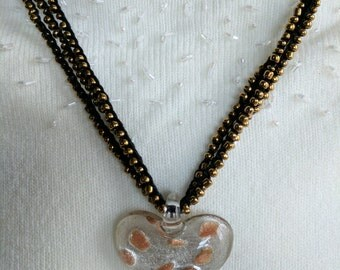 Black & Gold Crocheted Necklace with 4 Strands of Gold Seed Beads and Glass Heart Pendant