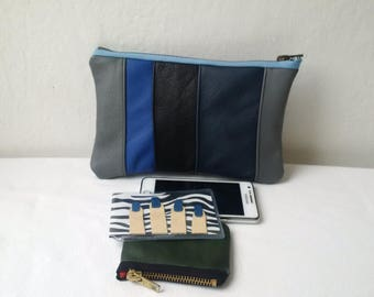 blue leather pouch, recycled leather,patchwork leather zipper pouch, leather clutch, pencil case, manbag, make up bag, recycled bag,upcycled