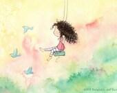 La jeune fille qui voulait Fly - jeune fille brune se balancer et Merle-bleu - longs cheveux bouclés - Art Print - enfants