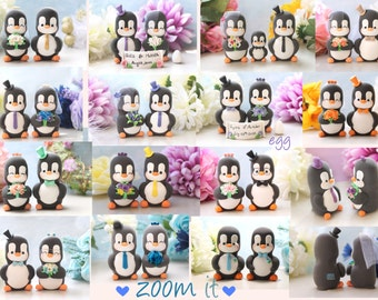 Bride and groom figurines wedding cake toppers Penguins - unique custom personalized funny elegant engagement wedding gift pink gold silver