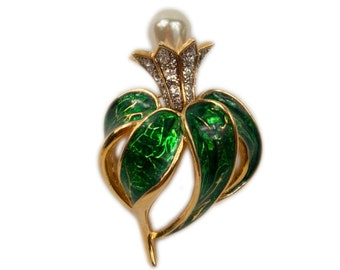 1990s Green Enamel White Rhinestones Faux Pearl Gold Tone Stylized Thistle Vintage Pin Brooch