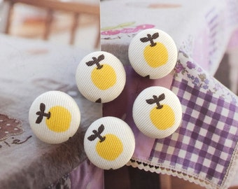 Sweet Chic Spring Color Little Yellow Apples-Handmade Fabric Covered Buttons(0.75 Inches, 5PCS)