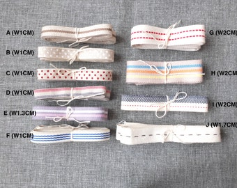 Natural Sewing Tape/Ribbon-Chic Nautical Marine Stripe Lines Dots Collection(Choose Pattern)