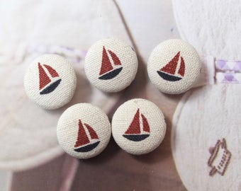 Nautical Marine Ocean Red Sailing Boat Sailboat, Beige or Natural White, Choose Color  - Fabric Covered Buttons (0.75 Inches, 5PCS)