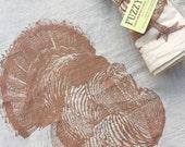 TURKEY Napkins - Metallic Copper, Hand Printed Flour Sack Napkins (unbleached cotton)