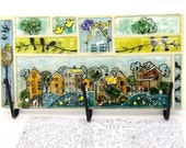 mosaic Fused glass wall Hanging hooks