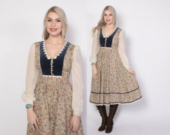 Vintage 70s GUNNE SAX DRESS / 1970s Calico Floral Velvet Trim Midi Prairie Dress xs