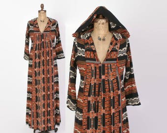 Vintage 70s Hooded DRESS / 1970s Bohemian Ethnic Print Maxi Dress with Hood