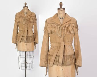 Vintage 80s FRINGE JACKET / 1980s Tan Suede LEATHER Belted Western Jacket Xs - S